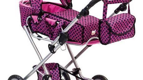 Kočárek pro panenky Bino s taškou černý/růžový + Doprava zdarma