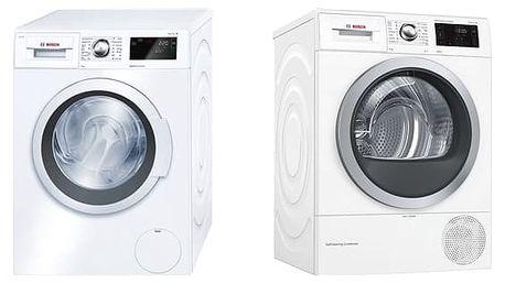 Set (Sušička prádla Bosch WTW876WBY) + (Automatická pračka Bosch WAT28660BY) + DOPRAVA ZDARMA