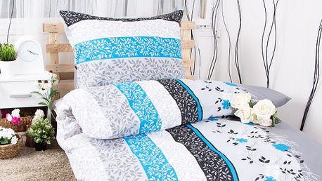 XPOSE ® Prodloužené bavlněné povlečení HELENA - šedo modrá 140x220, 70x90
