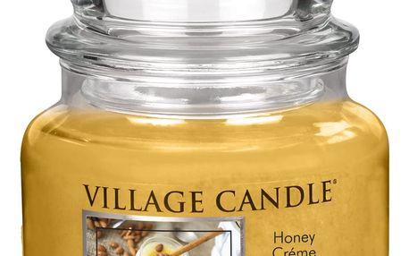 VILLAGE CANDLE Svíčka ve skle Honey Créme - malá, žlutá barva, oranžová barva, hnědá barva, sklo, vosk