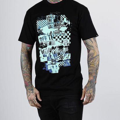 Tričko Vans MN OTW CHECKER BLAST BLACK/AQUA Černá