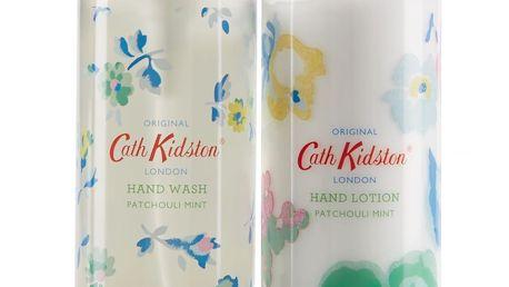 Cath Kidston Sada mýdla a krému na ruce ve stojánku Patchouli Mint, zelená barva, bílá barva, plast, keramika
