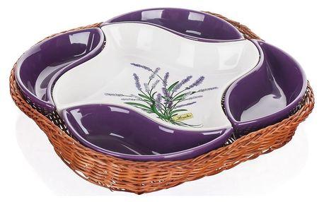 Banquet Lavender 5dílná servírovací mísa v košíku