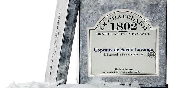 LE CHATELARD Strouhané mýdlo v krabičce Levandule, šedá barva, zinek