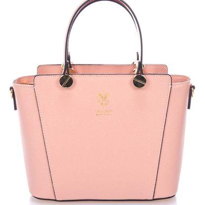 Růžová kožená kabelka Giulia Massari Mela - doprava zdarma!