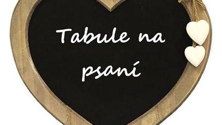 Dřevěná tabule ve tvaru srdce pro psaní vzkazů nebo jako originální dárek na Valentýna.