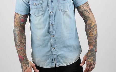 Košile Alcott SHORT SLEEVE DENIM SHIRT Modrá