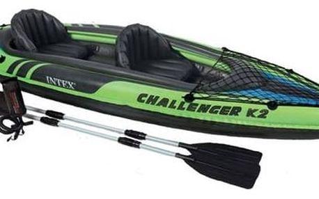 Kajak Intex Challenger K2, 2 místný černý/modrý/zelený