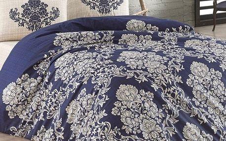 BedTex Bavlněné povlečení Estella modrá, 140 x 220 cm, 2 x 70 x 90 cm, 2 ks 50 x 70 cm, 220 x 200 cm, 2 ks 70 x 90 cm