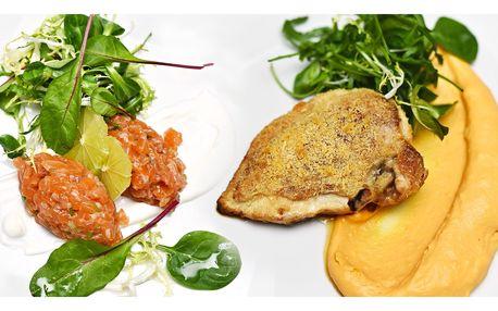 4chodové menu s kuřecím supreme a tatarákem