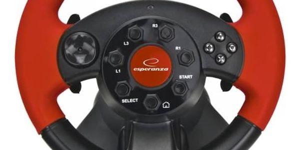 Volant Esperanza EG103 High Octane pro PC, PS1, PS2, PS3 + pedály (EG103) černý/červený + Doprava zdarma5