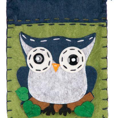 Fashion Icon Peněženka flísová HANDMADE zelená sova na zip