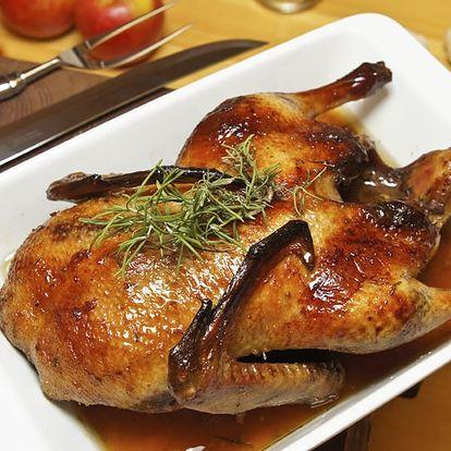 Kachna na medu a víně se zelím a knedlíkem v pražské restauraci Švejk ve Strašnicích.