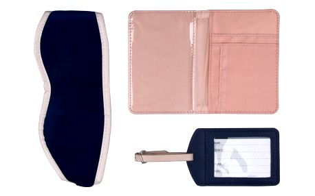 Modrý cestovní set: Obal na pas, štítek na zavazadlo a maska na spaní Tri-Coastal Design