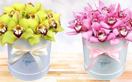 Flower box: krabice s čerstvými květy orchidejí