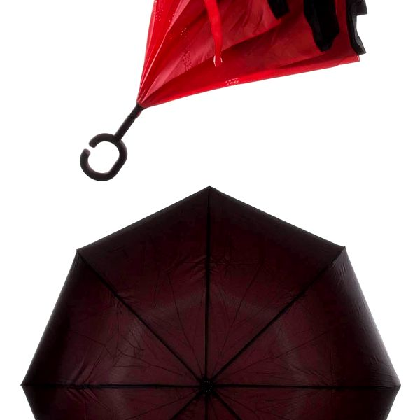 Obrácený holový deštník s dvojitým potahem v červené barvě