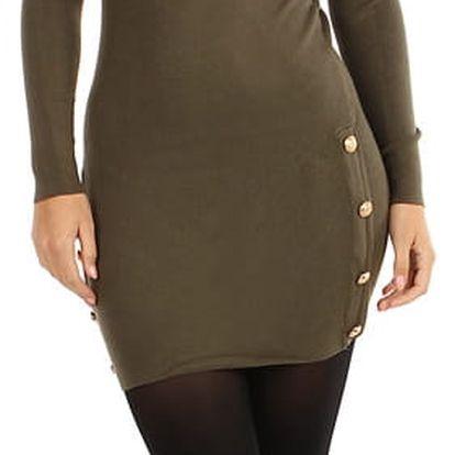 Úpletové šaty/svetr s ozdobnými patenty khaki
