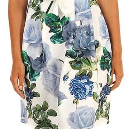 Šaty áčkového střihu s potiskem růží II.jakost růžová