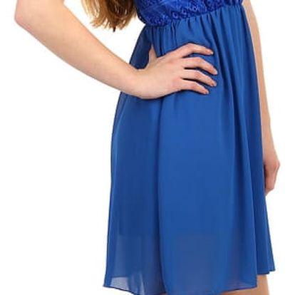 Šifonové šaty s krajkovým vrškem modrá