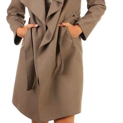 Dlouhý dámský kabát - kardigan s páskem hnědá