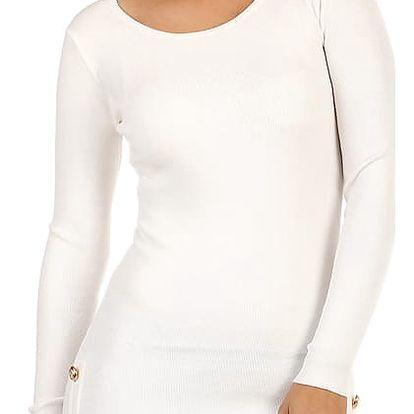 Úpletové šaty/svetr s ozdobnými patenty bílá