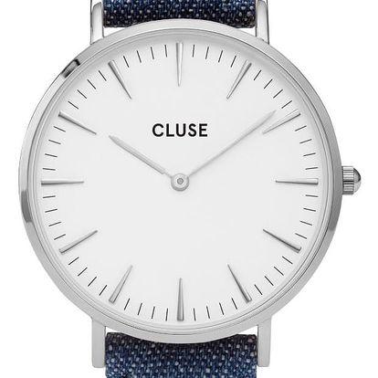CLUSE Hodinky Cluse La Bohéme Silver White/Denim, modrá barva, kov