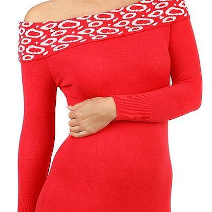 Dlouhý svetr/šaty s odhalenými rameny červená
