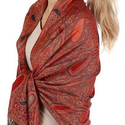 Vzorovaná maxi šála s třásněmi červená