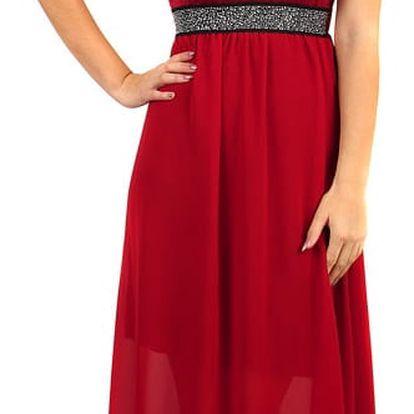 Dlouhé šaty s kamínkovou aplikací v pase vínová