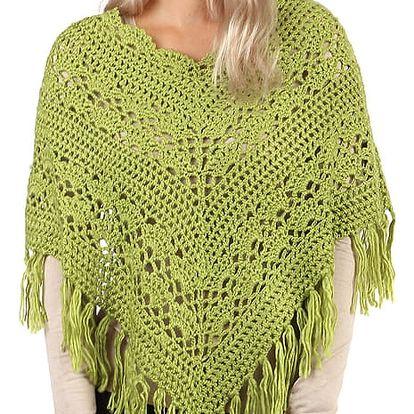 Pletené pončo se vzorem zelená