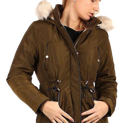 Lesklá zimní bunda s kožíškem - i pro plnoštíhlé khaki