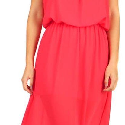 Dlouhé šifonové maxi šaty korálová