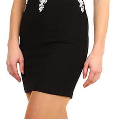Pouzdrové šaty s krajkou v horní části černá/bílá