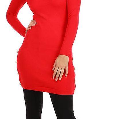 Dámské úpletové šaty s ozdobnými patenty červená