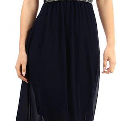 Dlouhé šaty s kamínkovou aplikací v pase černá