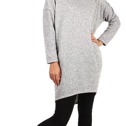 Volné žíhané šaty s kapsami - i pro plnoštíhlé světle šedá
