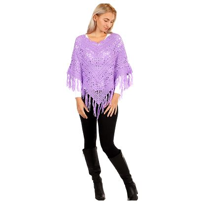 Pletené pončo se vzorem fialová
