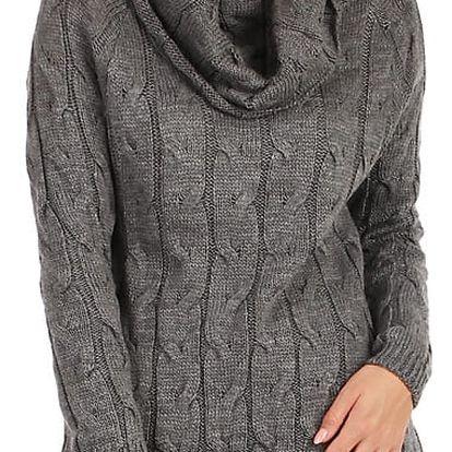 Úpletové šaty/svetr 2v1 šedá