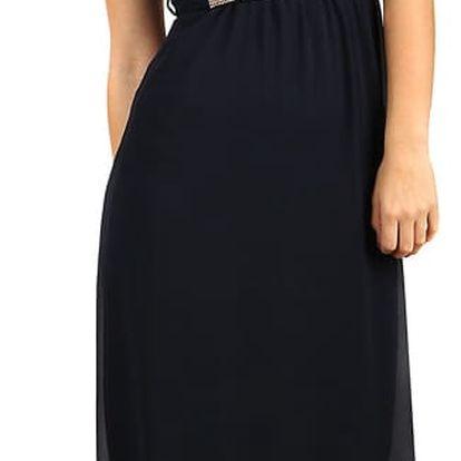 Dlouhé šifonové šaty s krajkou tmavě modrá