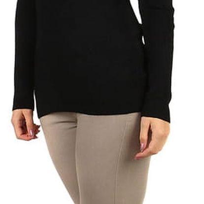 Žebrovaný svetr s výšivkou černá