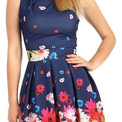 Letní květované šaty modrá