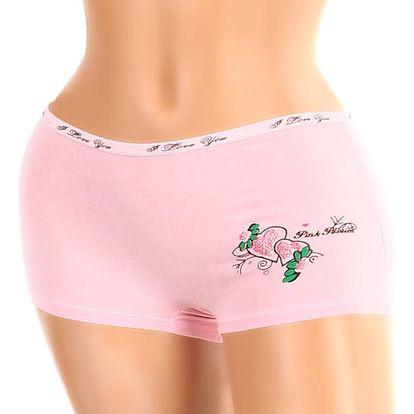Dámské boxerky s potiskem světle růžová