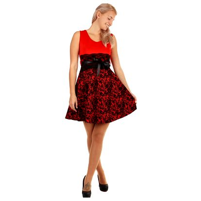 Dvoubarevné áčkové šaty s krajkou červená