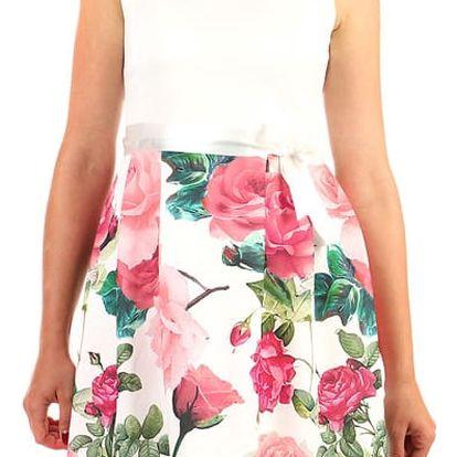 Šaty áčkového střihu s potiskem růží růžová