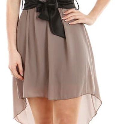 Asymetrické šaty s krajkou hnědá