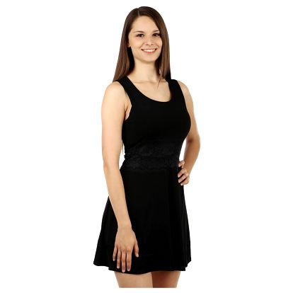 Krátké šaty s krajkou v pase černá