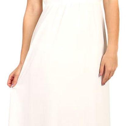 Dlouhé šifonové šaty s krajkou bílá