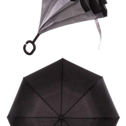 Obrácený holový deštník s dvojitým potahem v šedé barvě