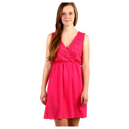 Šifonové šaty s krajkovým vrškem růžová