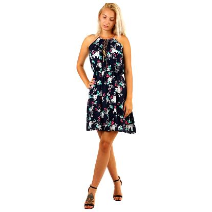Krátké letní vzorované šaty tmavě modrá